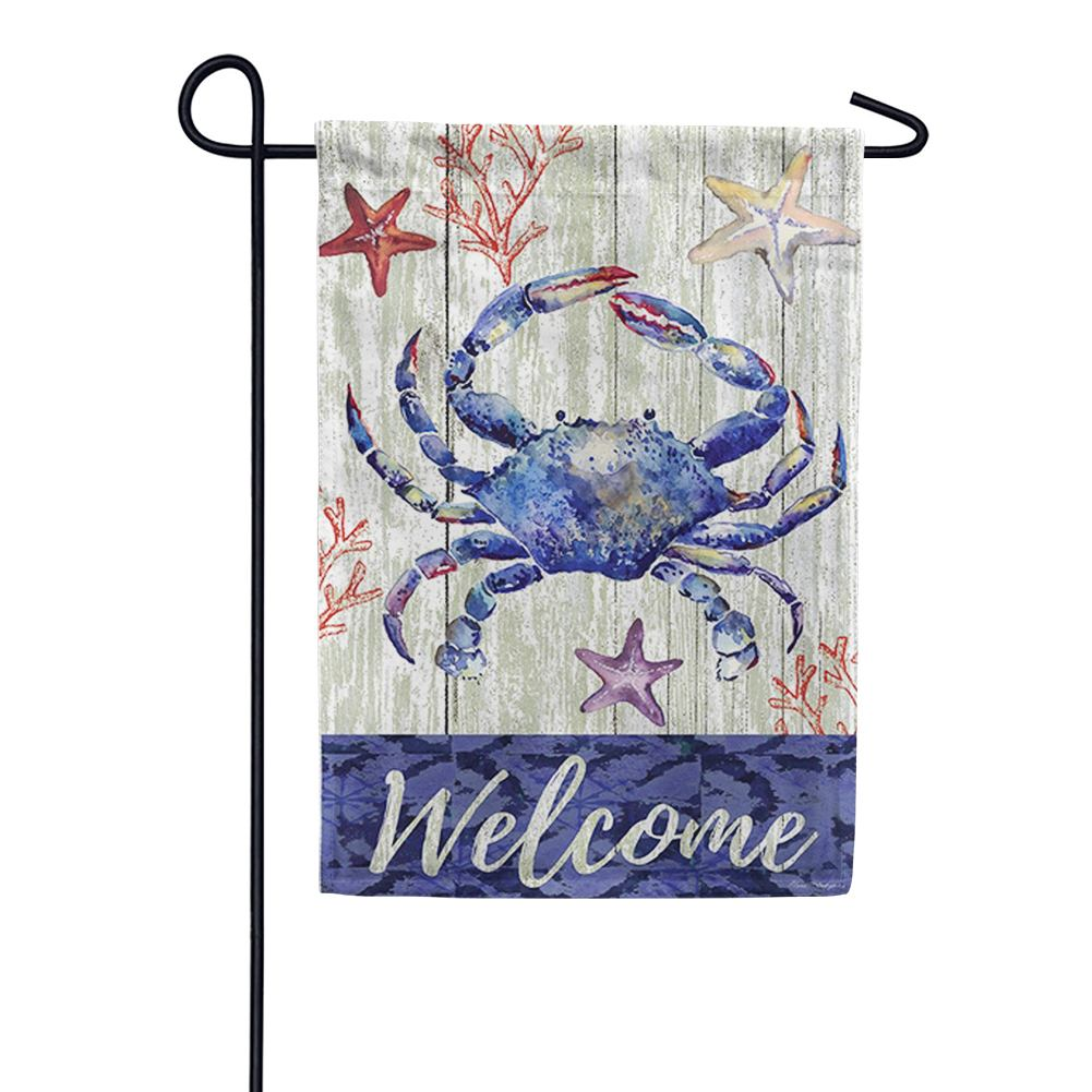 Blue Welcome Crab Double Sided Garden Flag