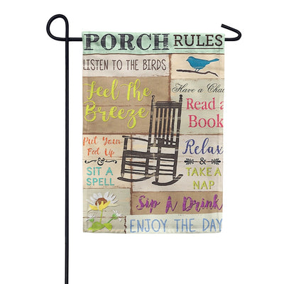 Porch Rules Double Sided Garden Flag