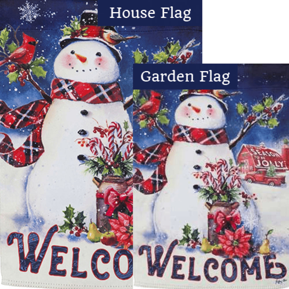 Christmas Barn Snowman Flags Set (2 Pieces)