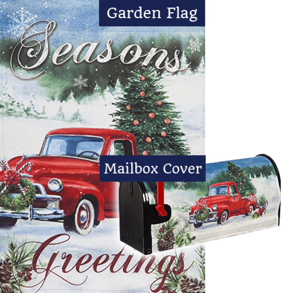 Christmas Farm Pickup Flag Mailwrap Set (2 Pieces)