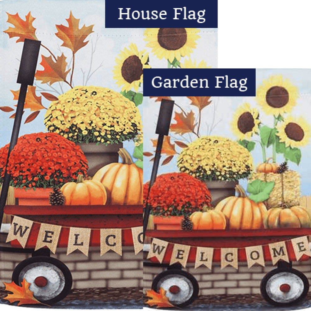 Autumn Red Wagon Flags Set (2 Pieces)