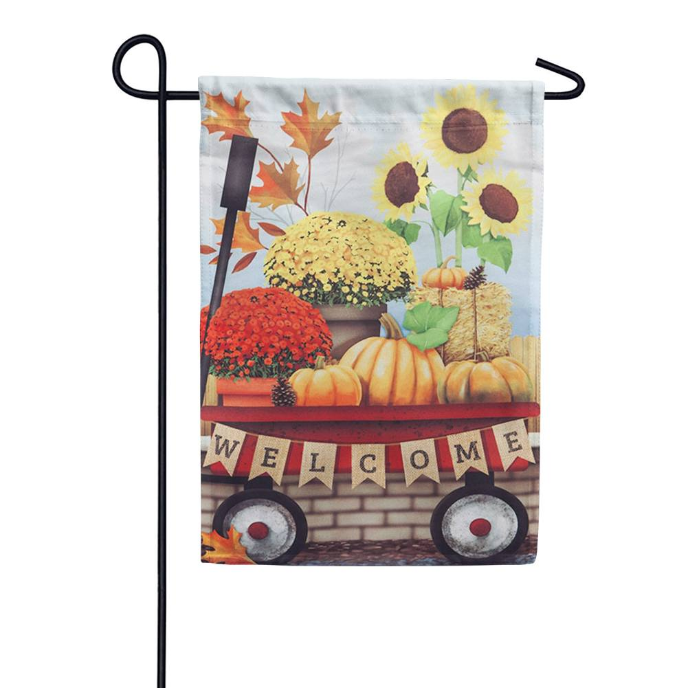 Autumn Red Wagon Garden Flag