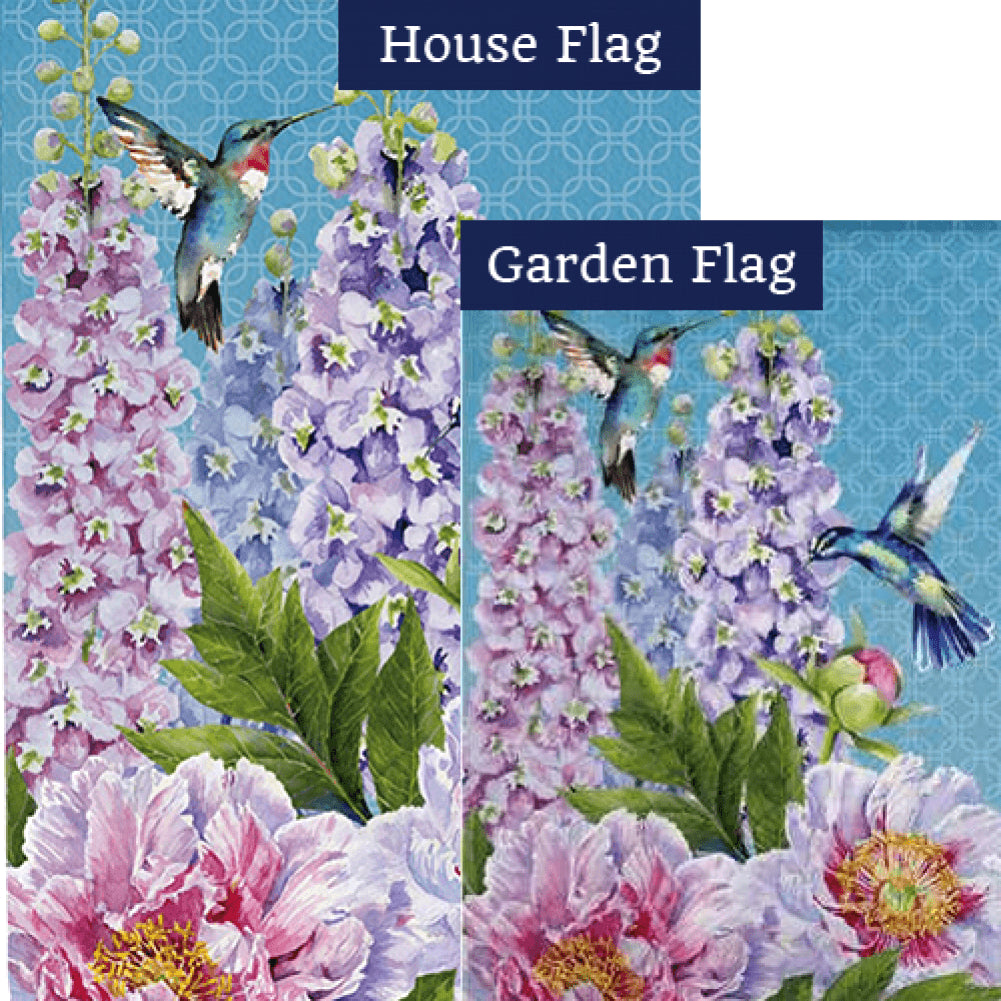 Peonies & Hummingbirds Double Sided Flags Set (2 Pieces)