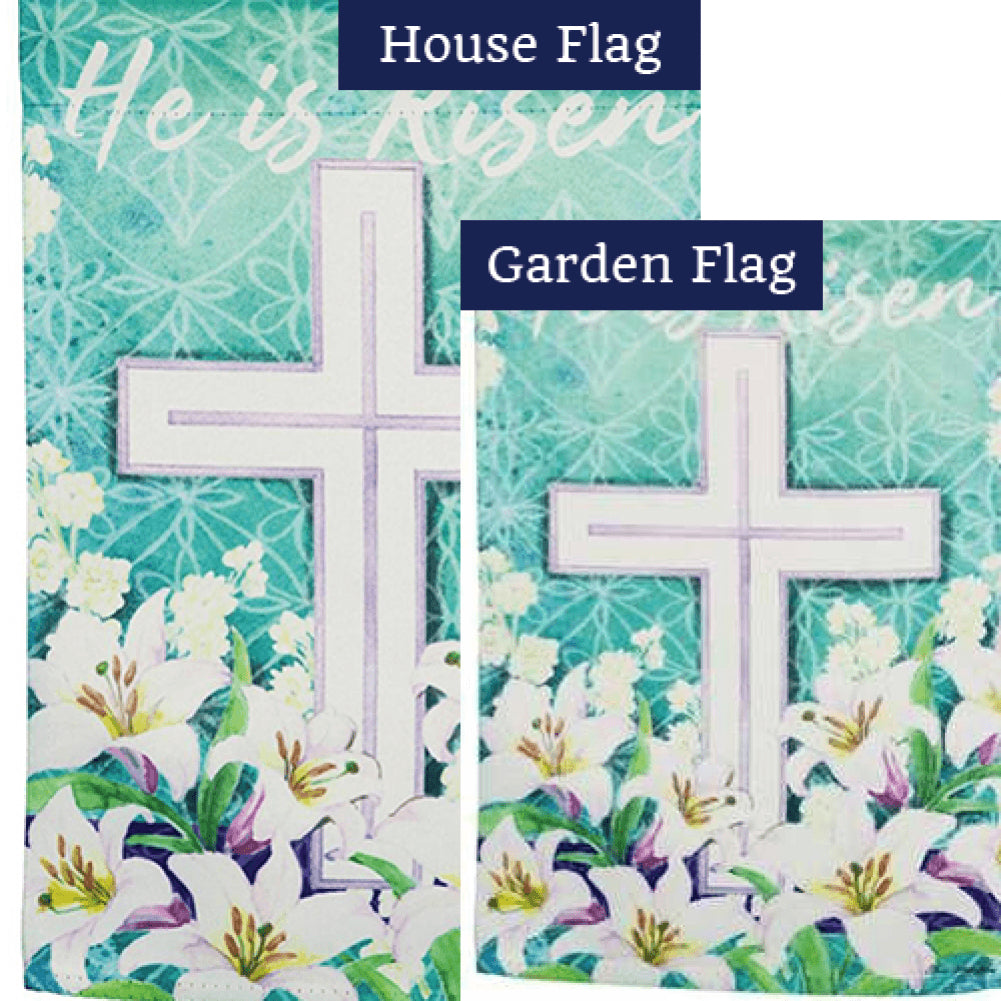 Easter Cross He Is Risen Double Sided Flags Set (2 Pieces)