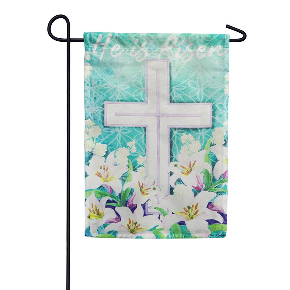 Easter Cross He Is Risen Double Sided Garden Flag