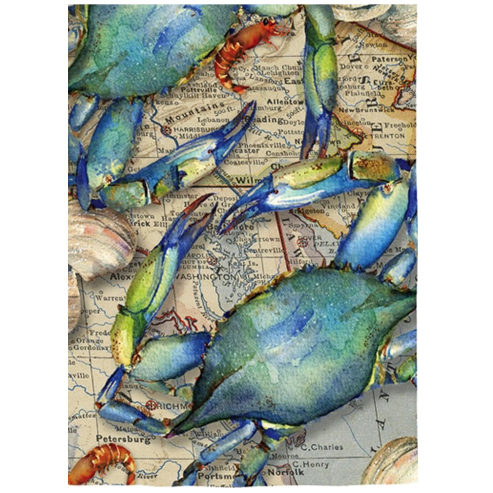 Blue Crab Map Suede Garden Flag