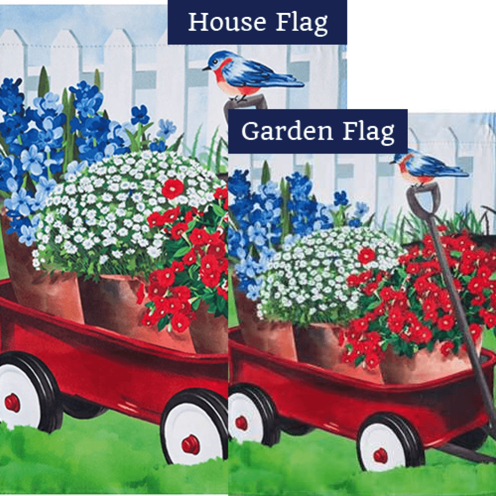 Americana Red Wagon Double Sided Flags Set (2 Pieces)