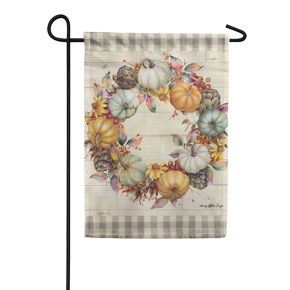 Pumpkin Time Wreath Suede Garden Flag