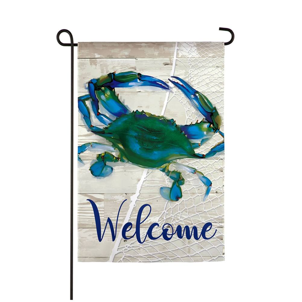 Evergreen Blue Crab Double Sided Garden Flag