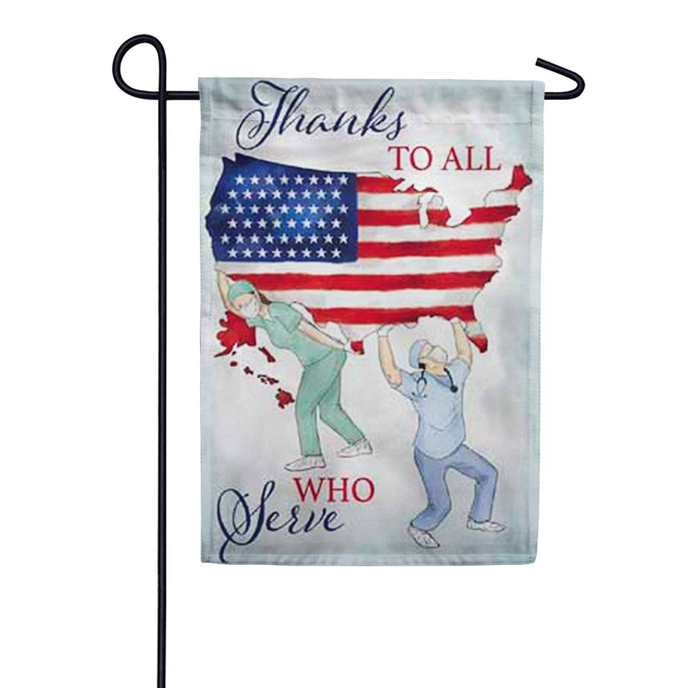 Thanks to All Who Serve Double Sided Garden Flag
