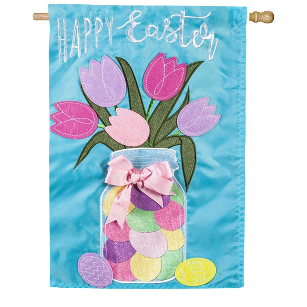 Easter Mason Jar Appliqued House Flag