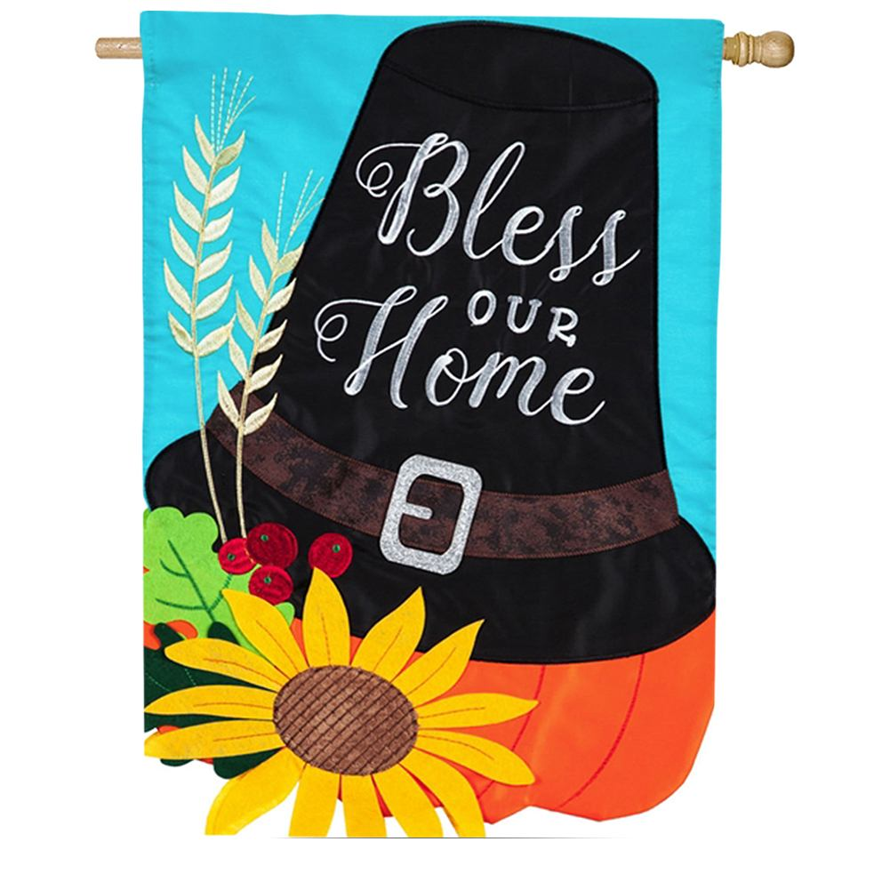 Pilgrim Hat Bless Our Home Appliqued House Flag