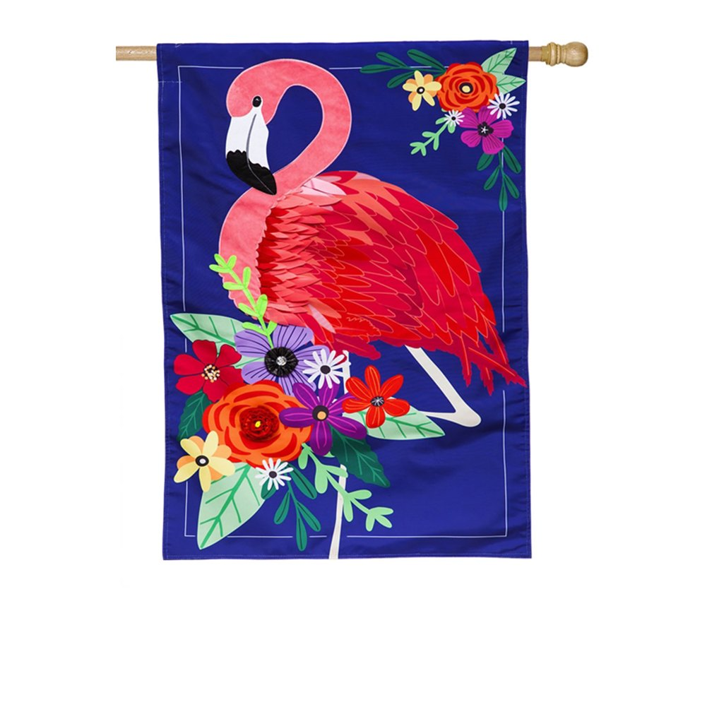 Evergreen Floral Flamingo Double Appliqued House Flag