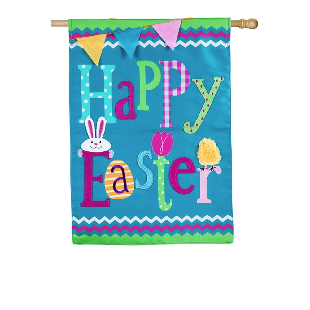Evergreen Happy Easter Double Appliqued House Flag
