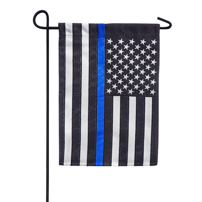 Thin Blue Line American Appliqued Garden Flag