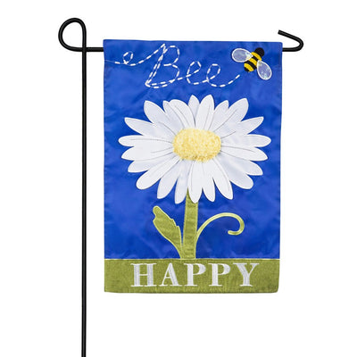 Bee Happy Daisy Double Appliqued Garden Flag
