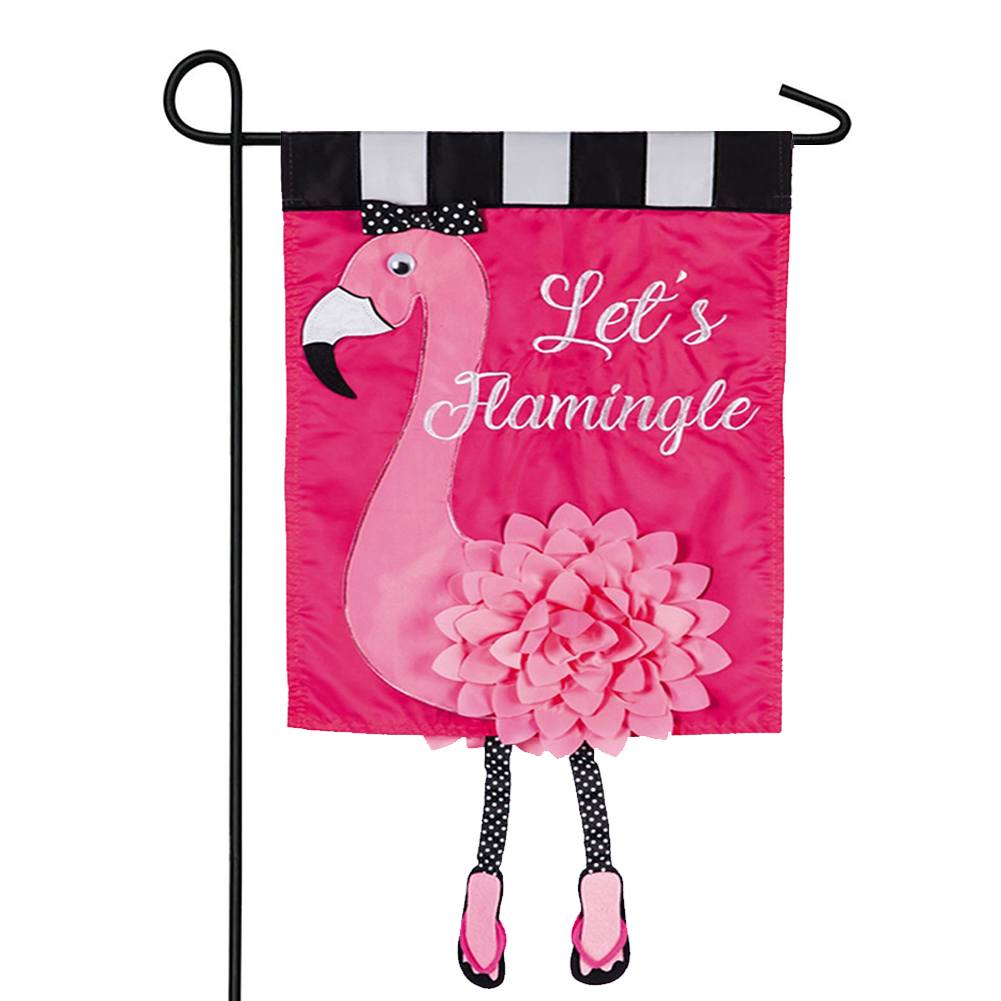 Let's Flamingle Appliqued Garden Flag