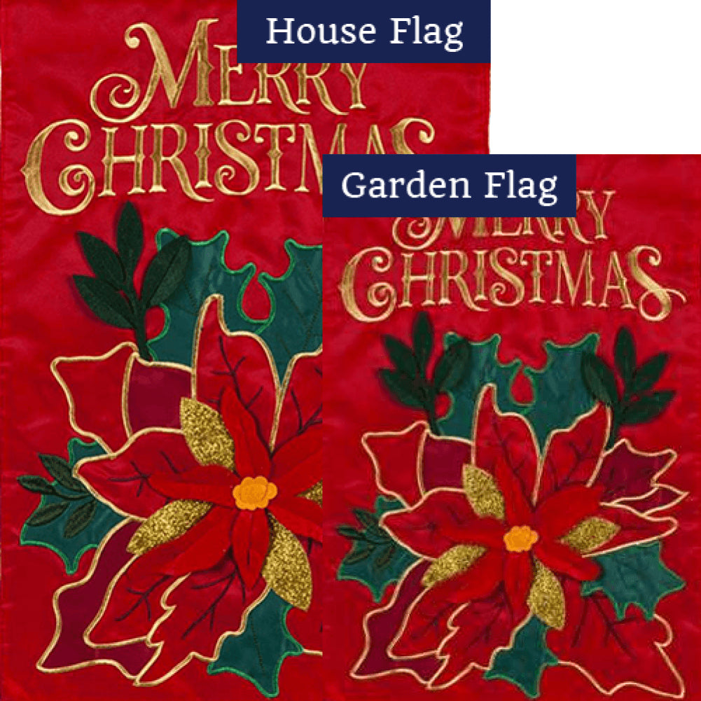 Christmas Poinsettia Holiday Appliqued Flags Set (2 Pieces)