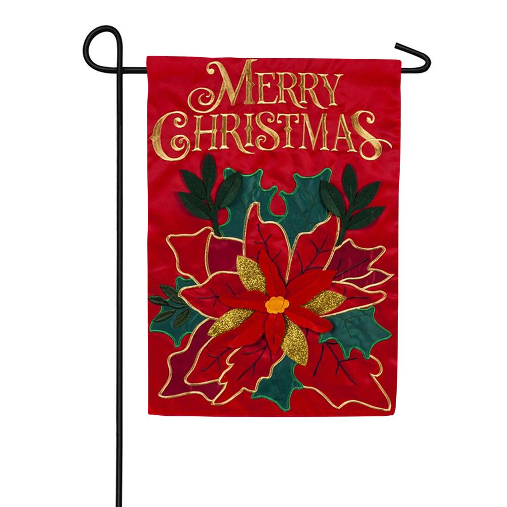 Christmas Poinsettia Holiday Appliqued Garden Flag
