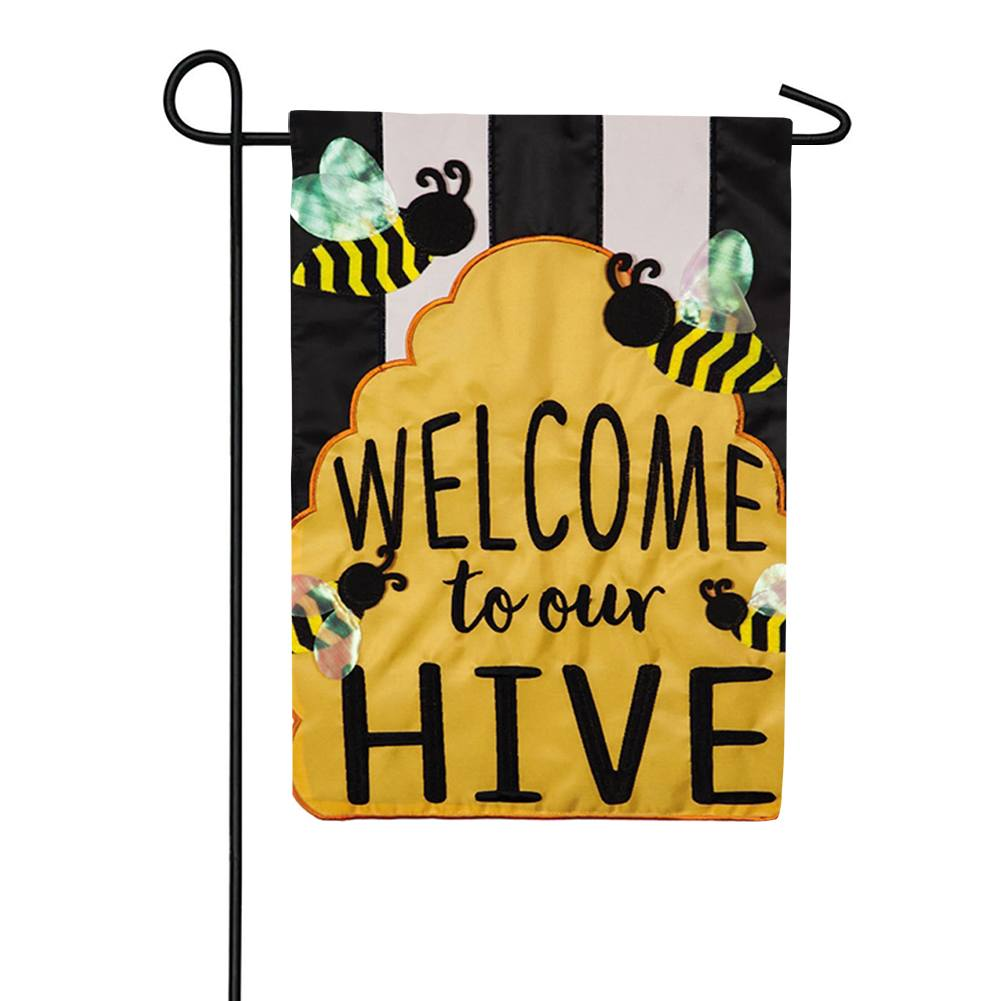 Welcome To Our Hive Appliqued Double Sided Garden Flag