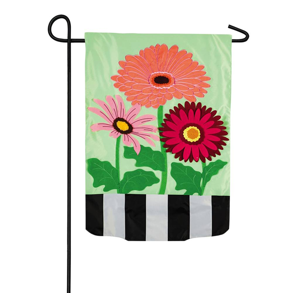 Gerbera Daisies Stripes Double Appliqued Garden Flag
