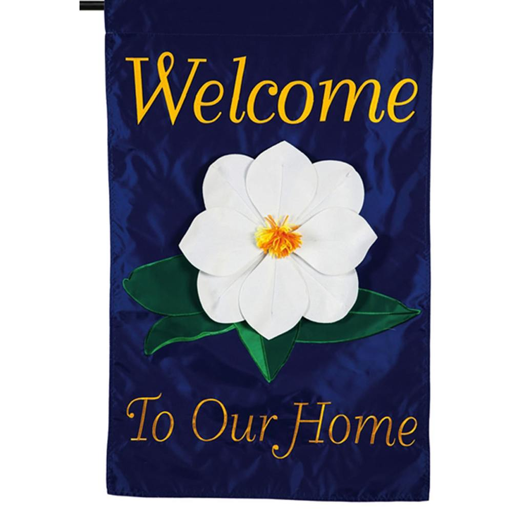 Magnolia Welcome Double Appliqued Garden Flag