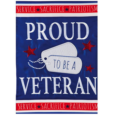 Proud Veteran Appliqued Garden Flag