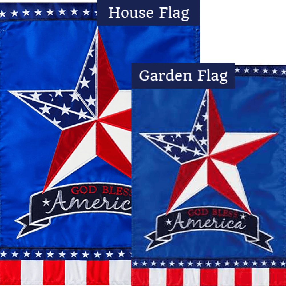Patriotic Country Star Double Appliqued Flags Set (2 Pieces)