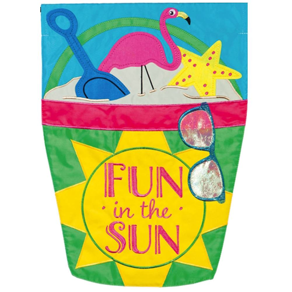 Fun In The Sun Beach Bucket Appliqued Garden Flag
