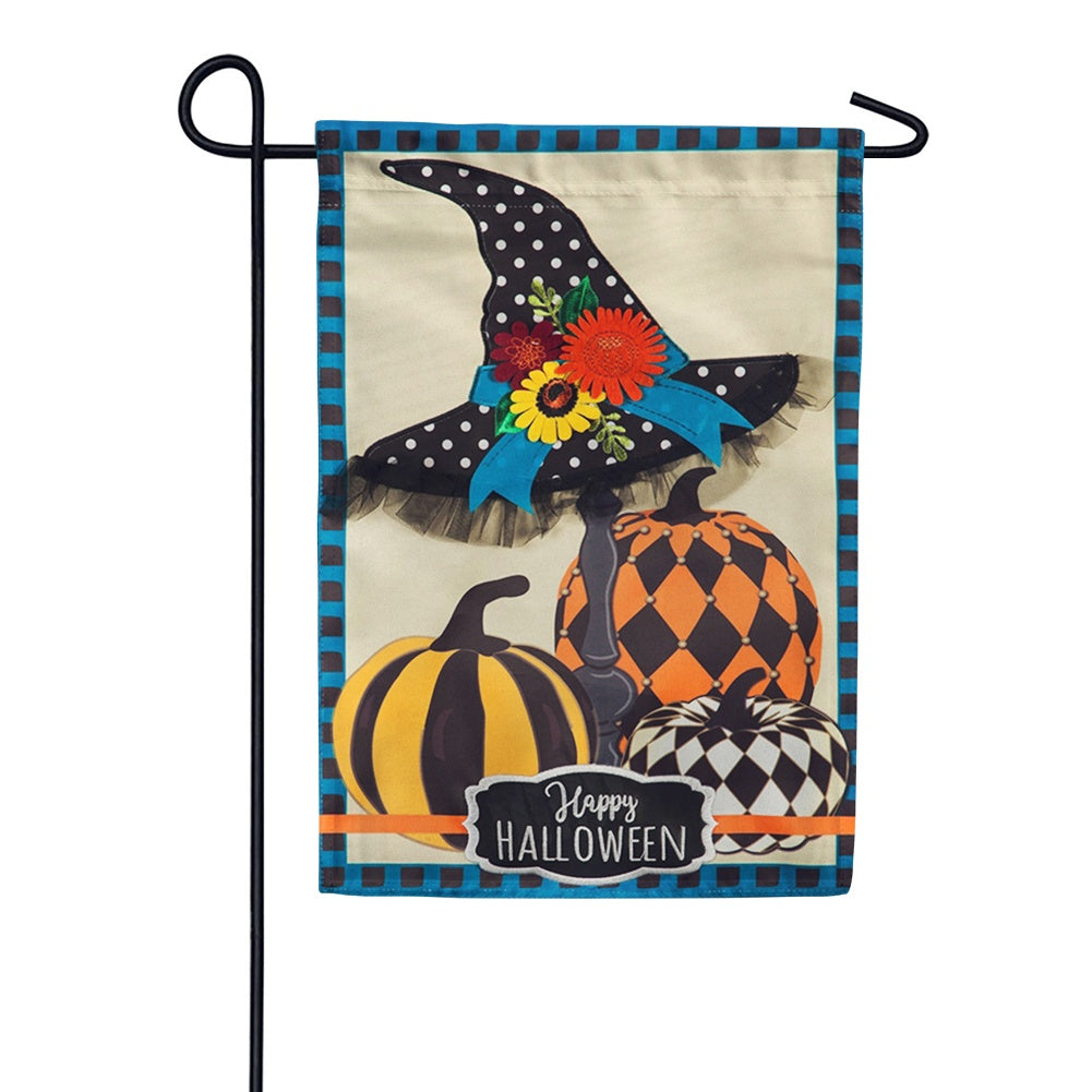 Witch Hat and Pumpkins Appliqued Garden Flag
