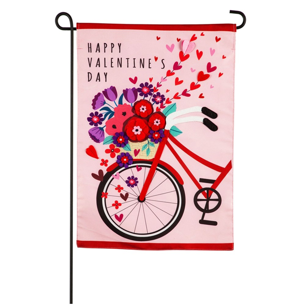 Valentine's Day Bicycle Appliqued Garden Flag