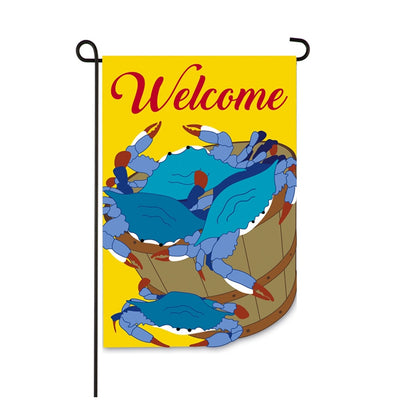 Blue Crab Bucket Double Appliqued Garden Flag