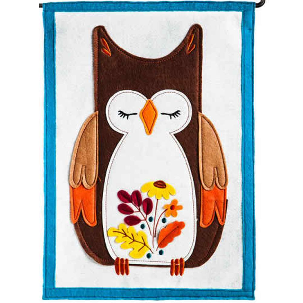 Autumn Owl Felt Double Sided Garden Flag
