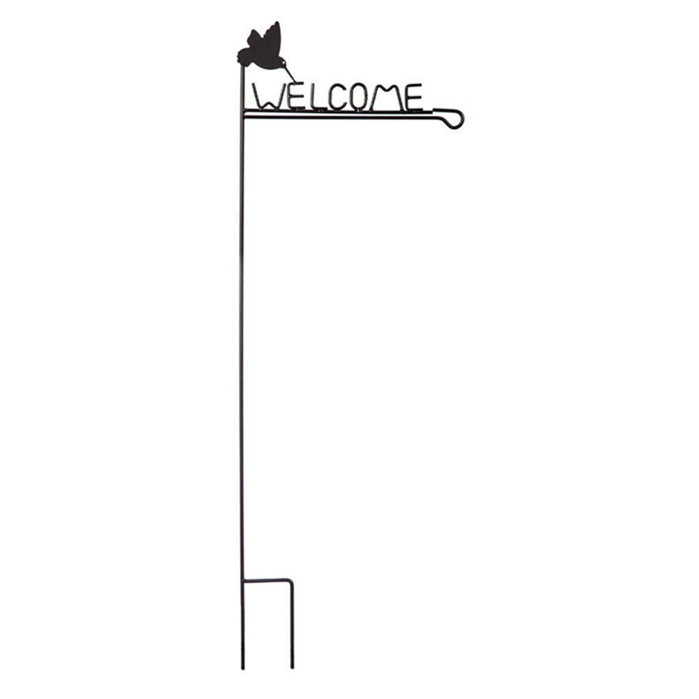 Hummingbird Welcome Garden Flag Stand