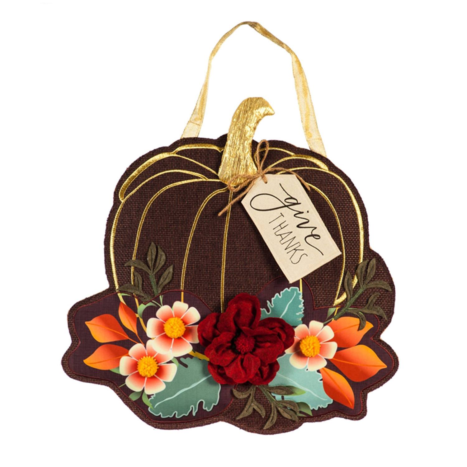 Give Thanks Floral Pumpkin Burlap Door Decor