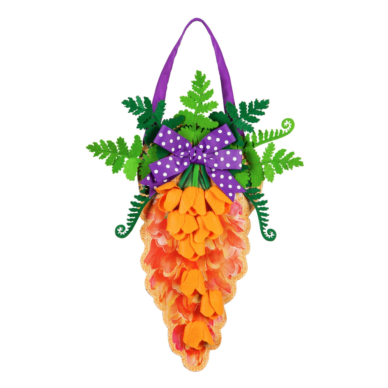 Carrot in Bloom Burlap Door Decor