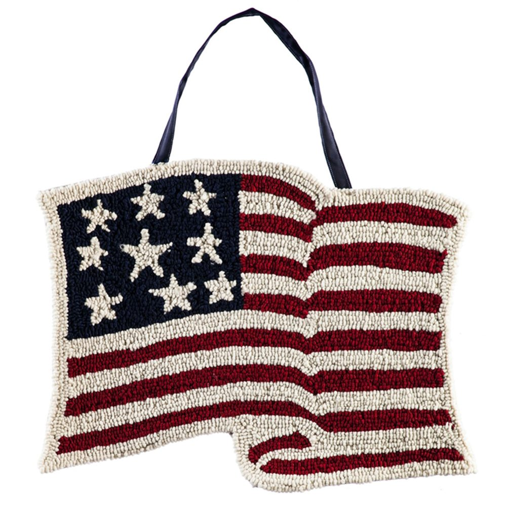American Flag Hooked Door Decor