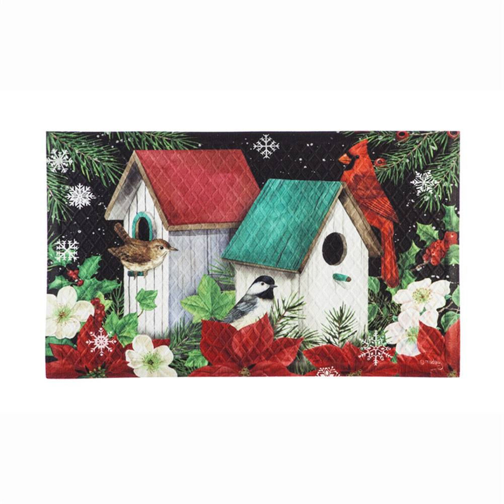 Poinsettia Birdhouse Doormat
