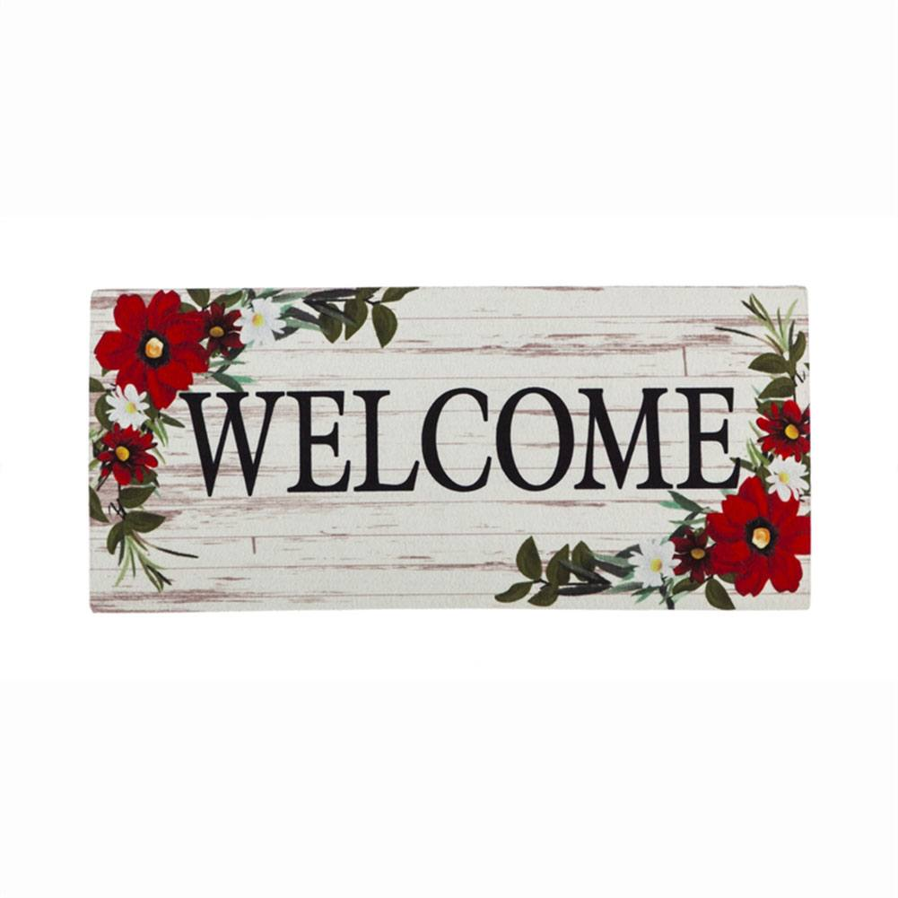 Red Floral Welcome Sassafras Switch Mat