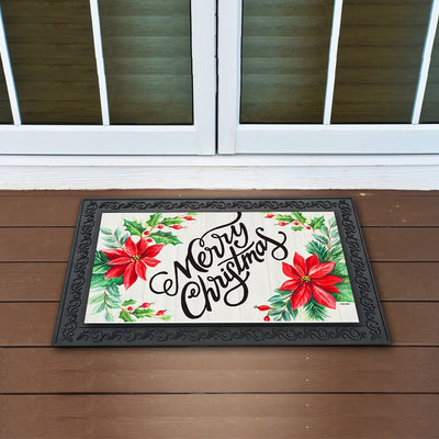 Merry Christmas Poinsettias Sassafras Switch Mat