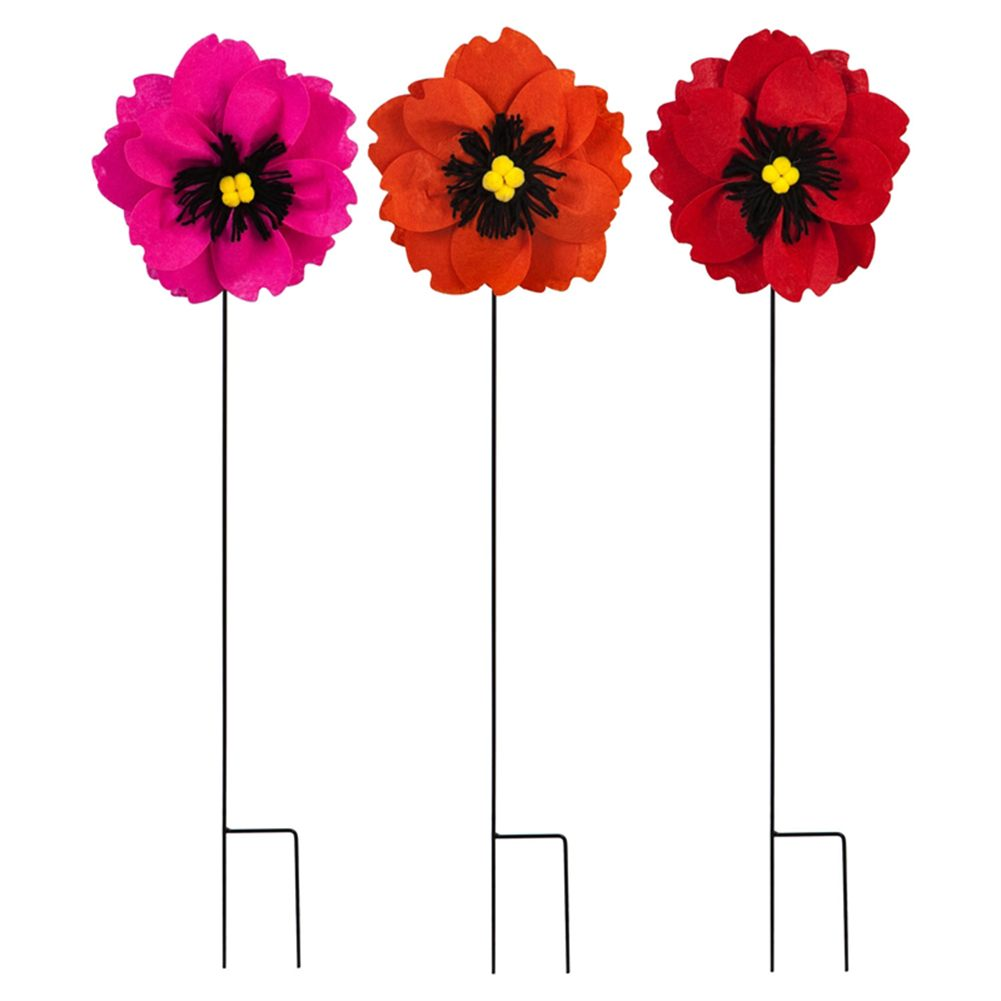 Poppies Forever Fabric Stakes (3/pack)