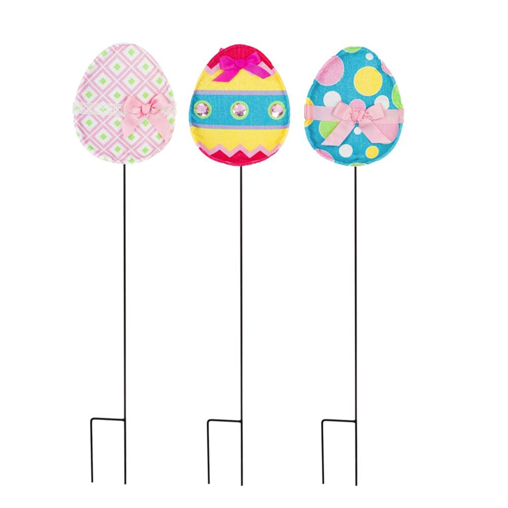 Pattern Easter Eggs Forever Fabric Stakes (3/pack)
