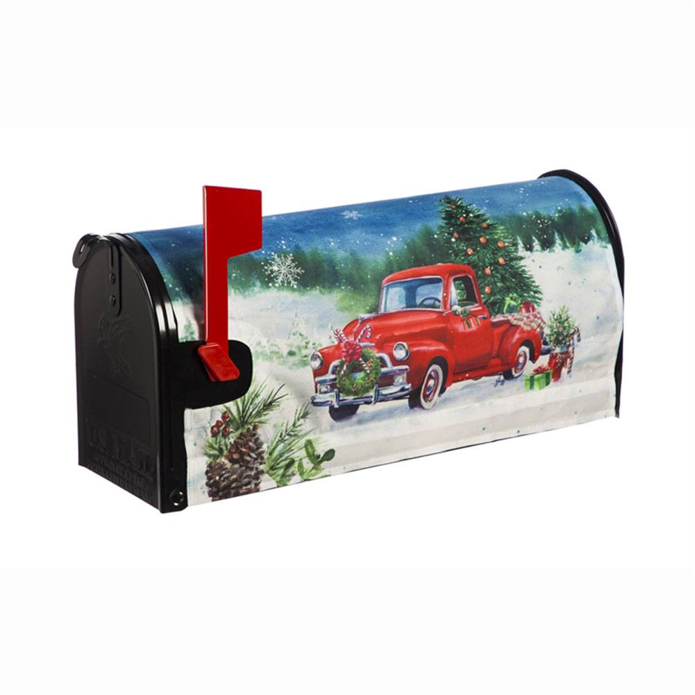 Christmas Farm Pickup Mailbox Cover