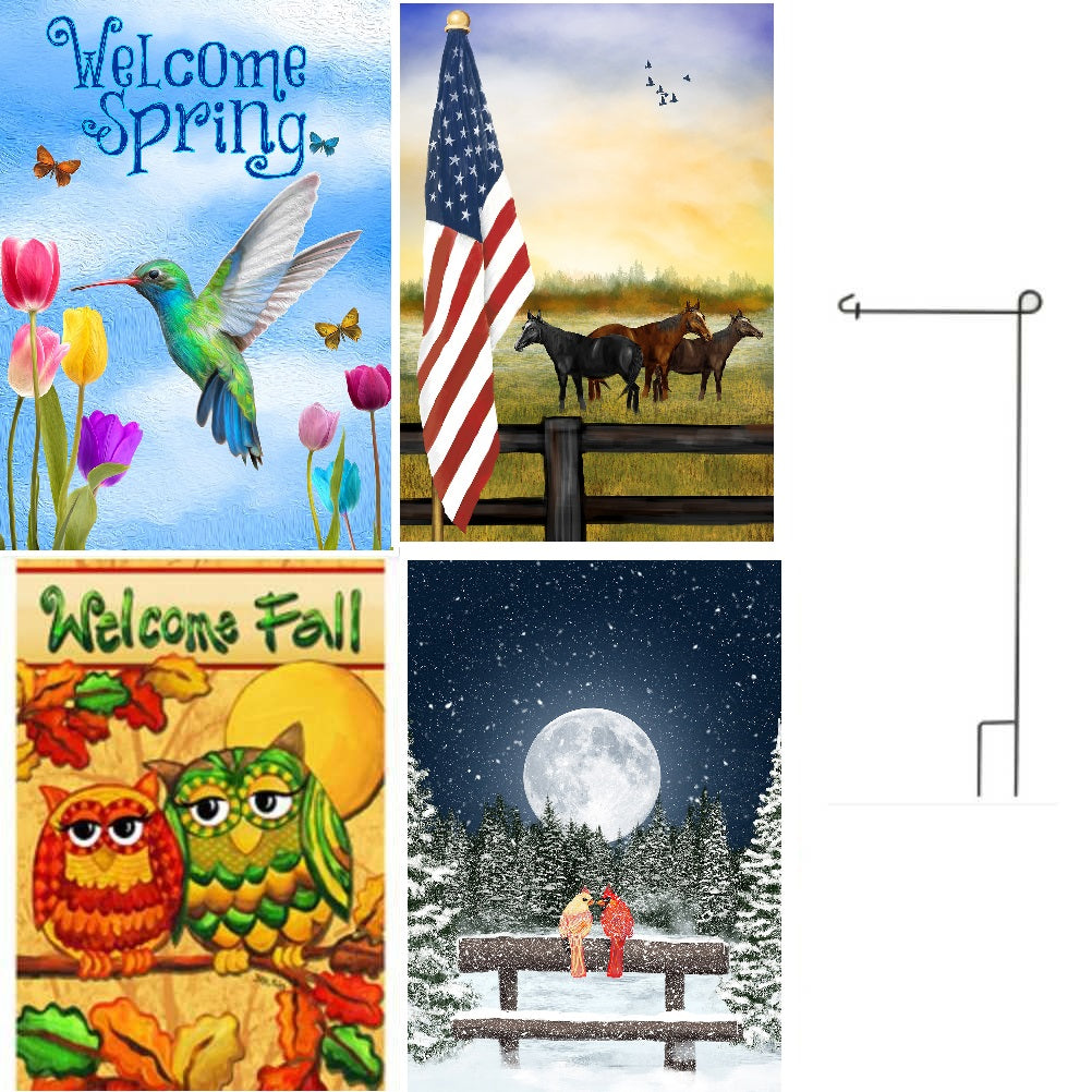 Set Of 4 Garden Flags & Garden Flag Pole