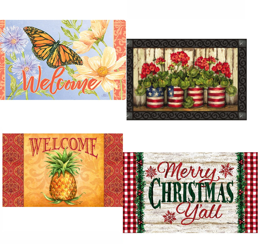 Set Of 4 Doormats & One Doormat Tray