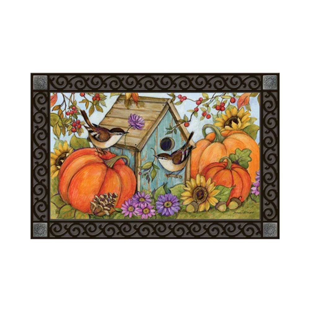 Autumn Birdhouse Chickadees MatMate