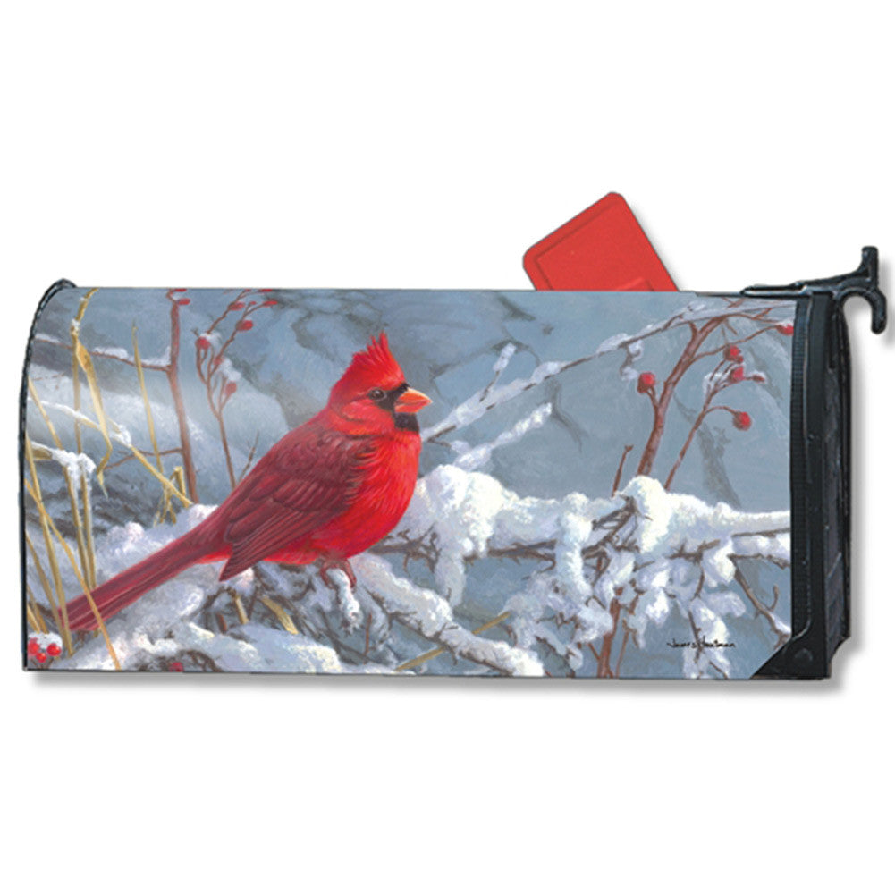 Cardinal In Snow Large Mailwrap