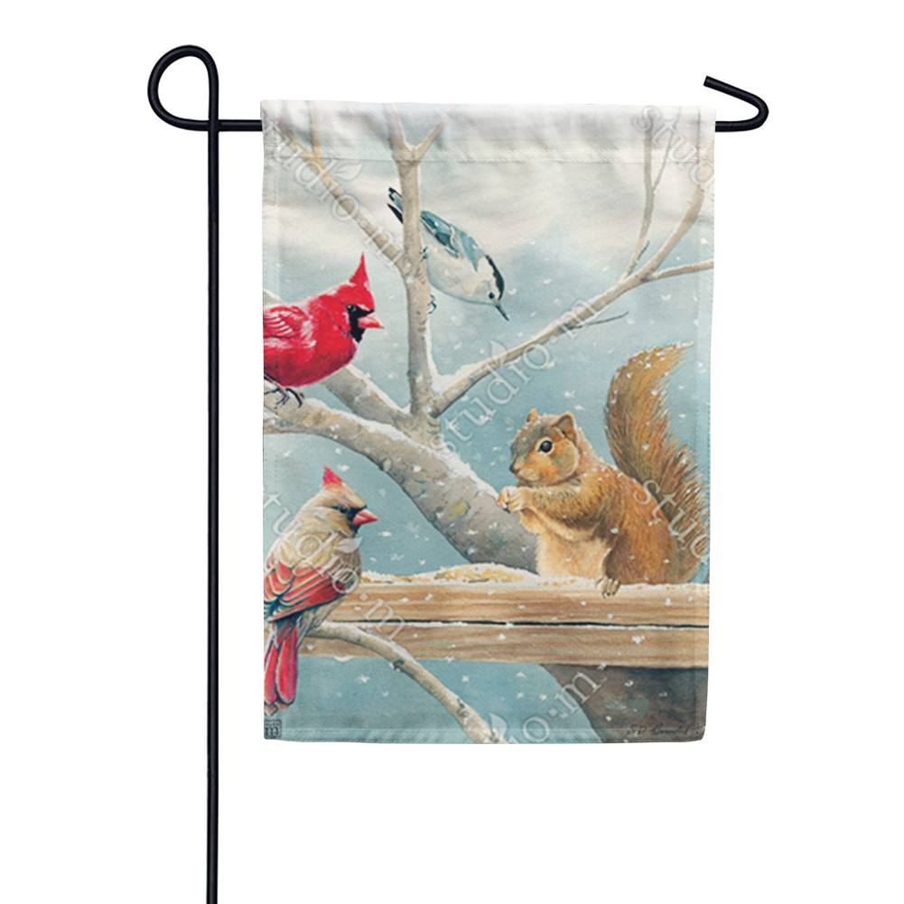 Winter Snacktime Garden Flag