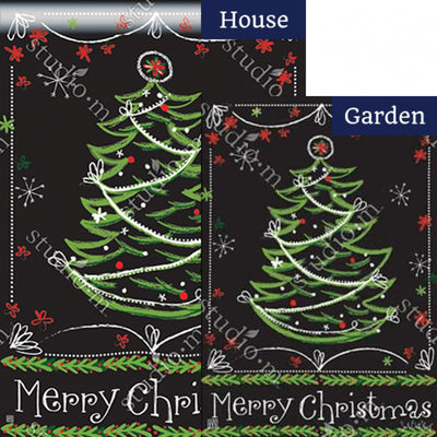Blackboard Christmas Double Sided Flags Set (2 Pieces)