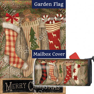 Christmas Stockings Festive Double Sided Flag Mailwrap Set (2 Pieces)